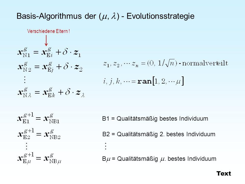 Basis-Algorithmus der (  ,  ) - Evolutionsstrategie B1 = Qualitätsmäßig bestes Individuum B2 = Qualitätsmäßig 2.
