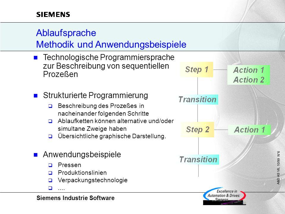 Siemens Industrie Software A&D AS V6, 10/99 N°6 Technologische Programmiersprache zur Beschreibung von sequentiellen Prozeßen Strukturierte Programmierung  Beschreibung des Prozeßes in nacheinander folgenden Schritte  Ablaufketten können alternative und/oder simultane Zweige haben  Übersichtliche graphische Darstellung.