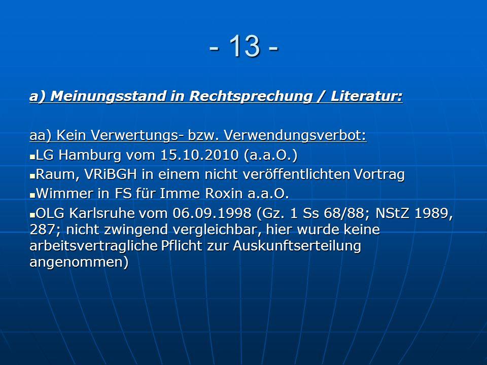- 13 - a) Meinungsstand in Rechtsprechung / Literatur: aa) Kein Verwertungs- bzw. Verwendungsverbot: LG Hamburg vom 15.10.2010 (a.a.O.) LG Hamburg vom