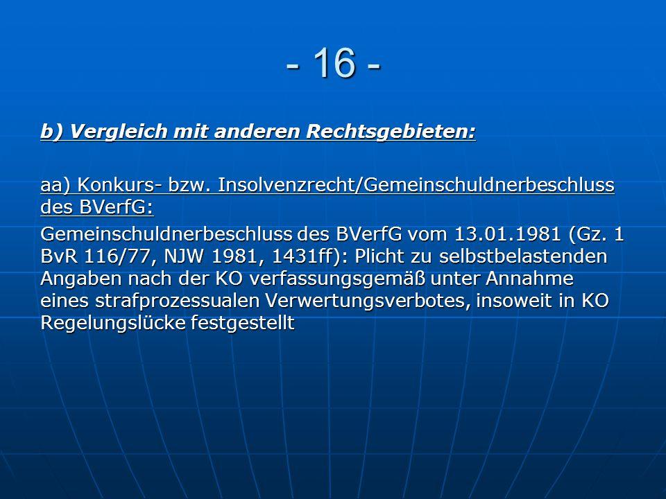 - 16 - b) Vergleich mit anderen Rechtsgebieten: aa) Konkurs- bzw. Insolvenzrecht/Gemeinschuldnerbeschluss des BVerfG: Gemeinschuldnerbeschluss des BVe