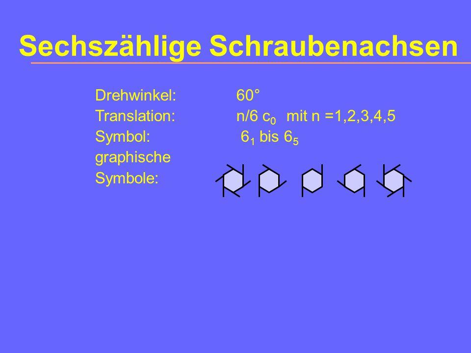 Vierzählige Schraubenachsen Drehwinkel:90° Translation:1/4 |r | oder 2/4 |r | oder 3/4 |r | Symbol:4 1 oder 4 2 oder 4 3 graphische Symbole: |r |
