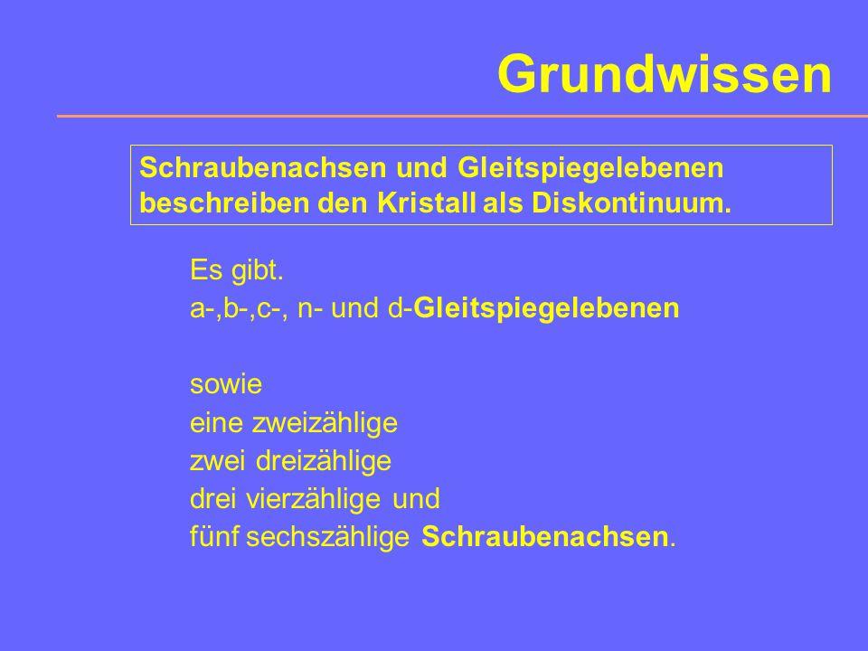 Sechszählige Schraubenachsen Drehwinkel:60° Translation:n/6 c 0 mit n =1,2,3,4,5 Symbol: 6 1 bis 6 5 graphische Symbole: