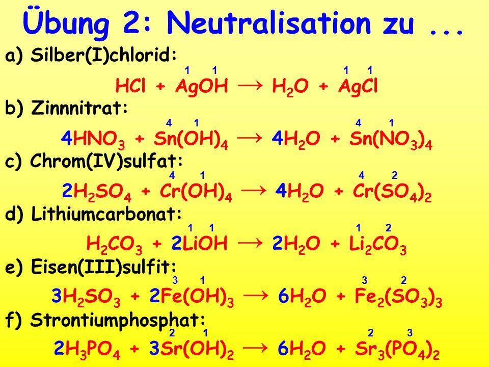 Übung 2: Neutralisation zu...