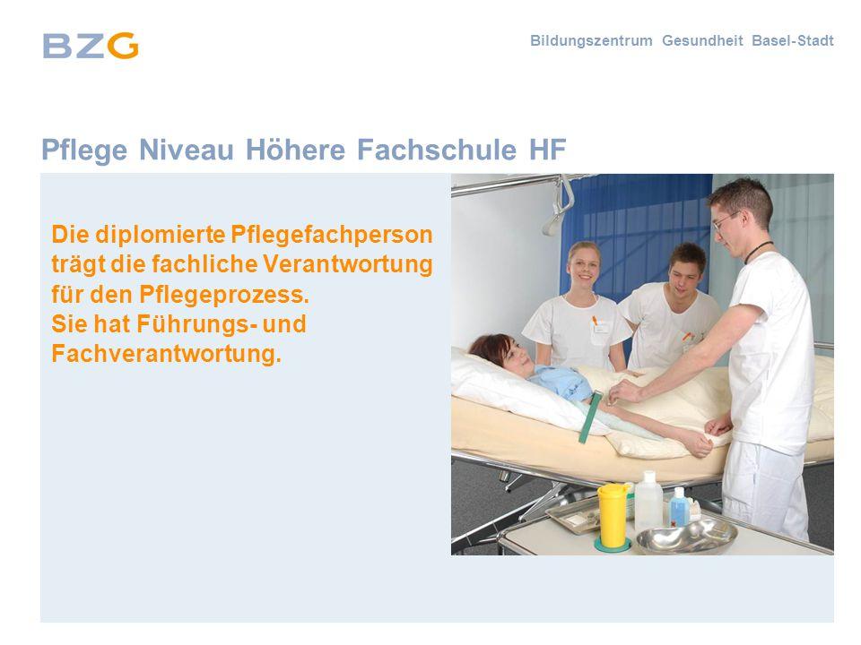 Bildungszentrum Gesundheit Basel-Stadt Pflege Niveau Höhere Fachschule HF Die diplomierte Pflegefachperson trägt die fachliche Verantwortung für den Pflegeprozess.