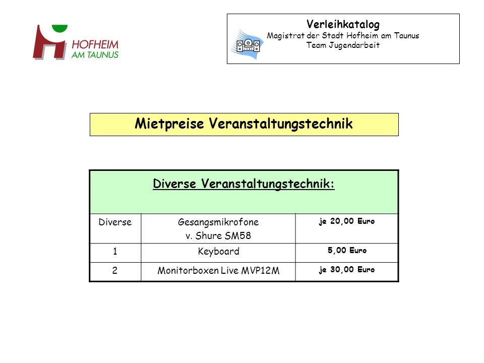 Diverse Veranstaltungstechnik: DiverseGesangsmikrofone v. Shure SM58 je 20,00 Euro 1Keyboard 5,00 Euro 2Monitorboxen Live MVP12M je 30,00 Euro Verleih