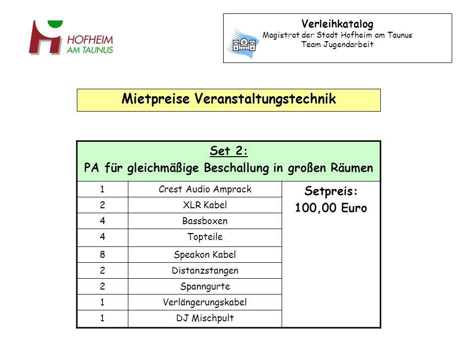 Set 3: Karaokeanlage 1Karaokeanlage JVC XL-FV323 Setpreis: 20,00 Euro 2Silberne Karaoke-Mikrofone 2XLR/Klinke-Kabel 1XLR-Kabel 1Chinch-Kabel 1Adapter 1Verlängerungskabel 18Karaoke CDs 18CD-Listen Verleihkatalog Magistrat der Stadt Hofheim am Taunus Team Jugendarbeit Mietpreise Veranstaltungstechnik