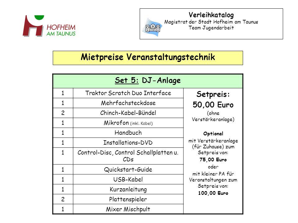 Set 5: DJ-Anlage 1Traktor Scratch Duo Interface Setpreis: 50,00 Euro (ohne Verstärkeranlage) Optional mit Verstärkeranlage (für Zuhause) zum Setpreis von: 75,00 Euro oder mit kleiner PA für Veranstaltungen zum Setpreis von: 100,00 Euro 1Mehrfachsteckdose 2Chinch-Kabel-Bündel 1Mikrofon (inkl.