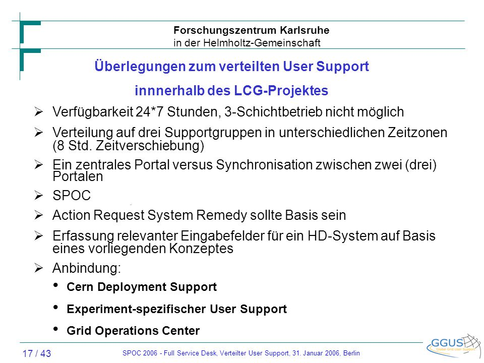 SPOC 2006 - Full Service Desk, Verteilter User Support, 31.