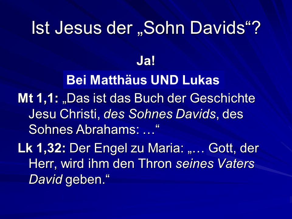 """Ist Jesus der """"Sohn Davids .Ja. Bei Matthäus oder Lukas."""