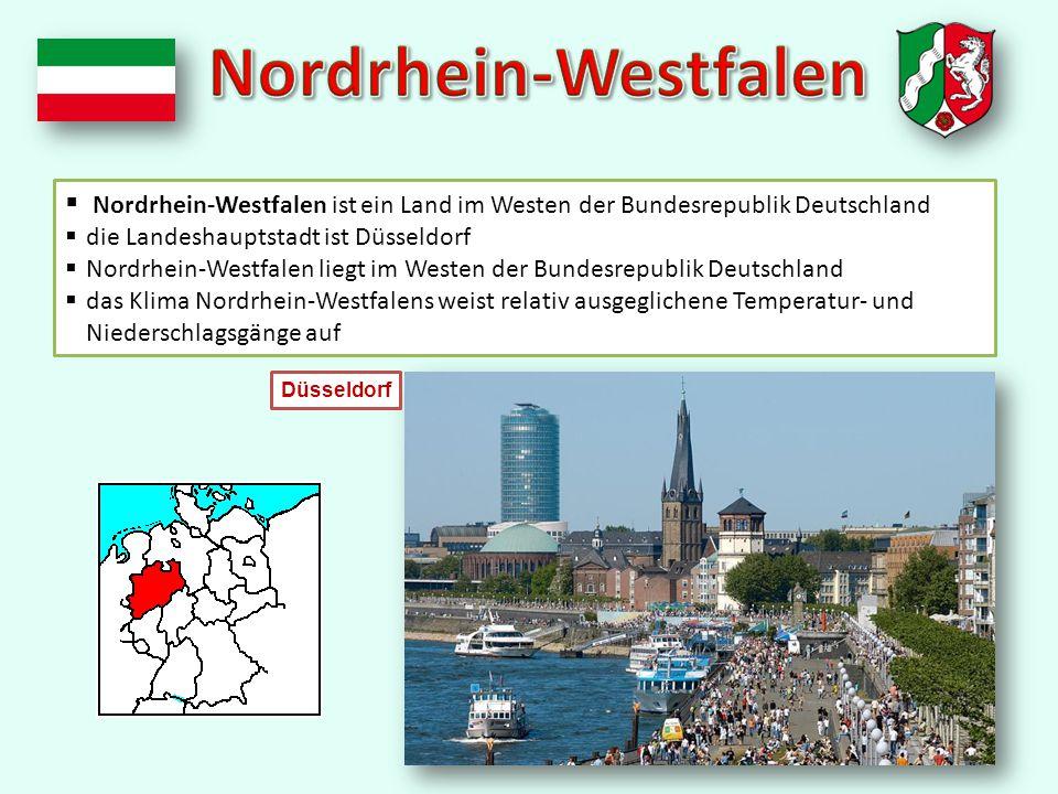  Nordrhein-Westfalen ist ein Land im Westen der Bundesrepublik Deutschland  die Landeshauptstadt ist Düsseldorf  Nordrhein-Westfalen liegt im Westen der Bundesrepublik Deutschland  das Klima Nordrhein-Westfalens weist relativ ausgeglichene Temperatur- und Niederschlagsgänge auf Düsseldorf