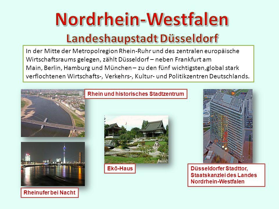 In der Mitte der Metropolregion Rhein-Ruhr und des zentralen europäische Wirtschaftsraums gelegen, zählt Düsseldorf – neben Frankfurt am Main, Berlin, Hamburg und München – zu den fünf wichtigsten,global stark verflochtenen Wirtschafts-, Verkehrs-, Kultur- und Politikzentren Deutschlands.
