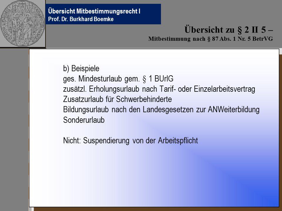 Übersichten Betriebsverfassungsrecht Prof.Dr. Burkhard Boemke b) Beispiele ges.