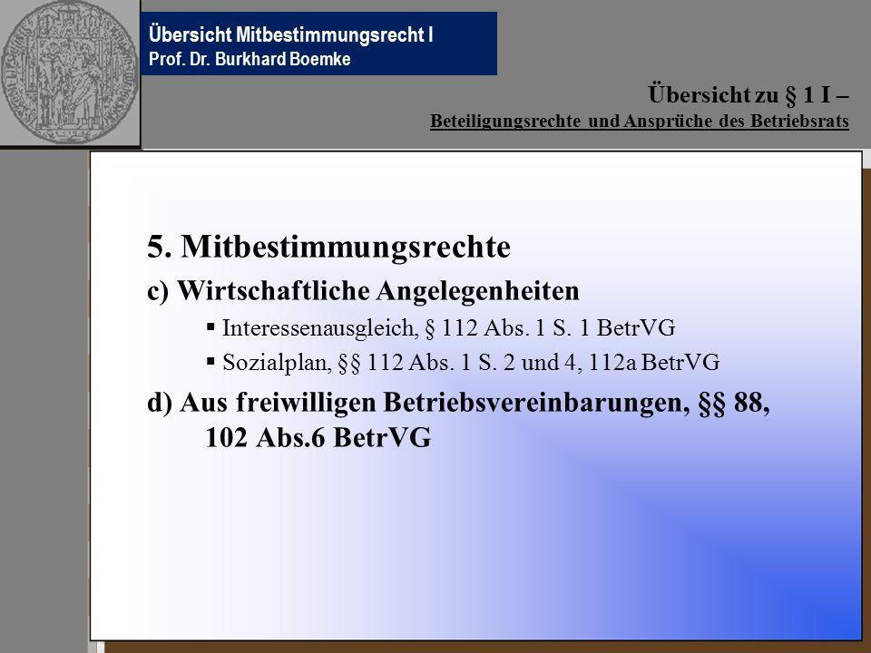 Übersichten Betriebsverfassungsrecht Prof.Dr. Burkhard Boemke 5.