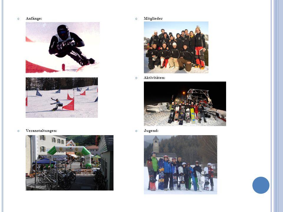 Mitglieder Aktivitäten: Jugend: Anfänge: Veranstaltungen: