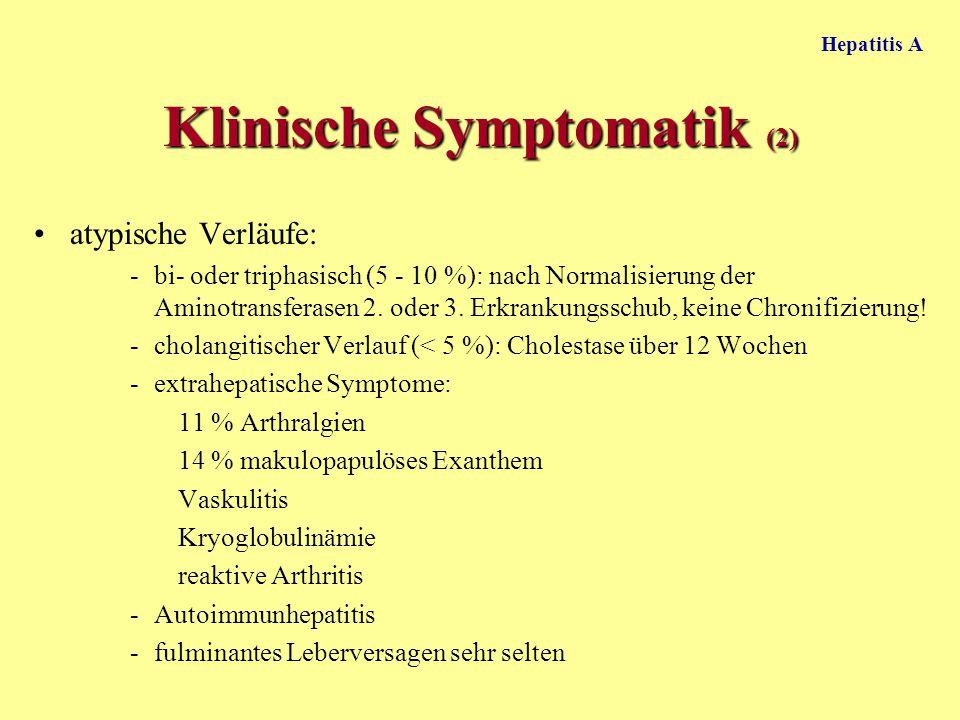 Hepatitis A atypische Verläufe: -bi- oder triphasisch (5 - 10 %): nach Normalisierung der Aminotransferasen 2. oder 3. Erkrankungsschub, keine Chronif