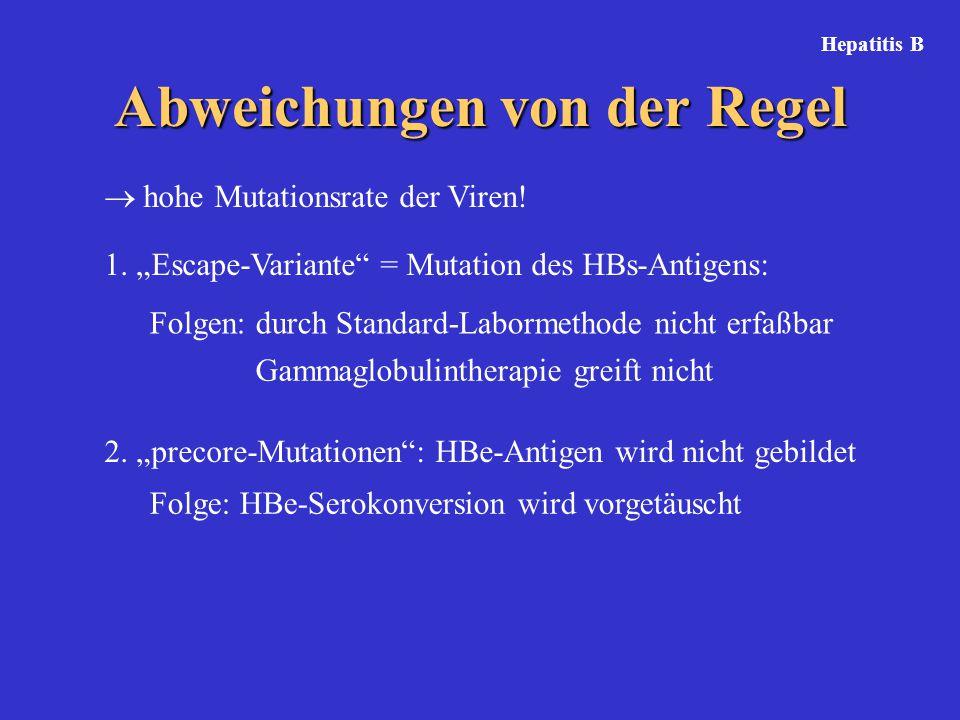 """Abweichungen von der Regel  hohe Mutationsrate der Viren! 1. """"Escape-Variante"""" = Mutation des HBs-Antigens: Folgen: durch Standard-Labormethode nicht"""