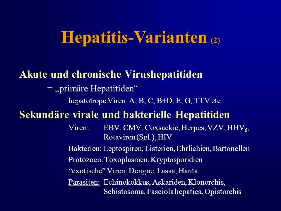"Hepatitis-Varianten (2) Akute und chronische Virushepatitiden = ""primäre Hepatitiden"" hepatotrope Viren: A, B, C, B+D, E, G, TTV etc. Sekundäre virale"