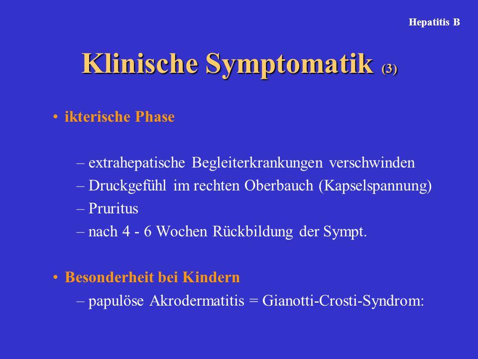ikterische Phase –extrahepatische Begleiterkrankungen verschwinden –Druckgefühl im rechten Oberbauch (Kapselspannung) –Pruritus –nach 4 - 6 Wochen Rückbildung der Sympt.