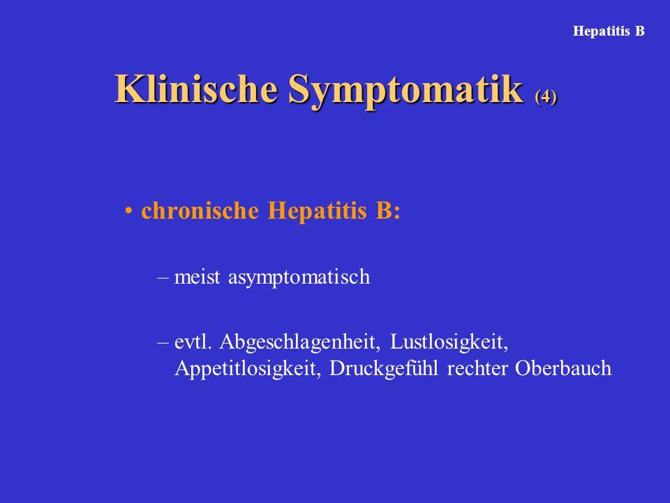chronische Hepatitis B: –meist asymptomatisch –evtl. Abgeschlagenheit, Lustlosigkeit, Appetitlosigkeit, Druckgefühl rechter Oberbauch Klinische Sympto