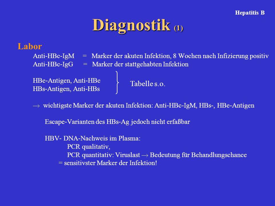 Diagnostik (1) Labor Anti-HBc-IgM = Marker der akuten Infektion, 8 Wochen nach Infizierung positiv Anti-HBc-IgG = Marker der stattgehabten Infektion H