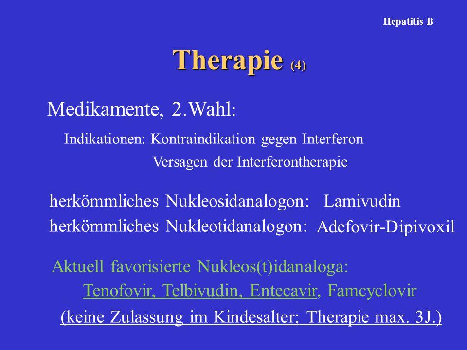 Hepatitis B Medikamente, 2.Wahl : Therapie (4) herkömmliches Nukleosidanalogon:Lamivudin herkömmliches Nukleotidanalogon: Adefovir-Dipivoxil Aktuell favorisierte Nukleos(t)idanaloga: Tenofovir, Telbivudin, Entecavir, Famcyclovir Indikationen: Kontraindikation gegen Interferon Versagen der Interferontherapie (keine Zulassung im Kindesalter; Therapie max.