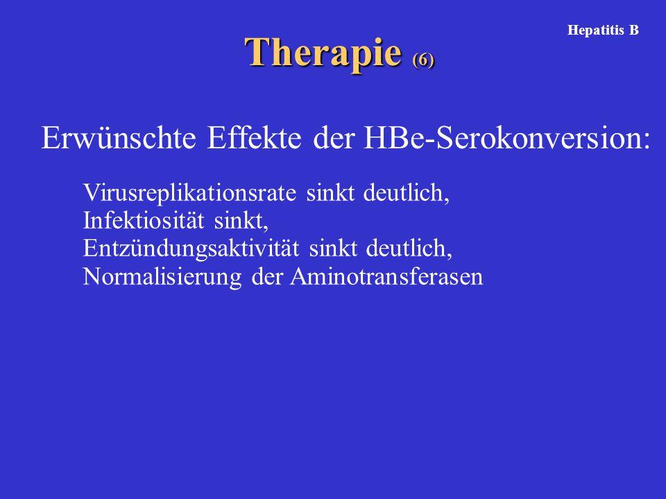 Virusreplikationsrate sinkt deutlich, Infektiosität sinkt, Entzündungsaktivität sinkt deutlich, Normalisierung der Aminotransferasen Therapie (6) Erwünschte Effekte der HBe-Serokonversion: Hepatitis B