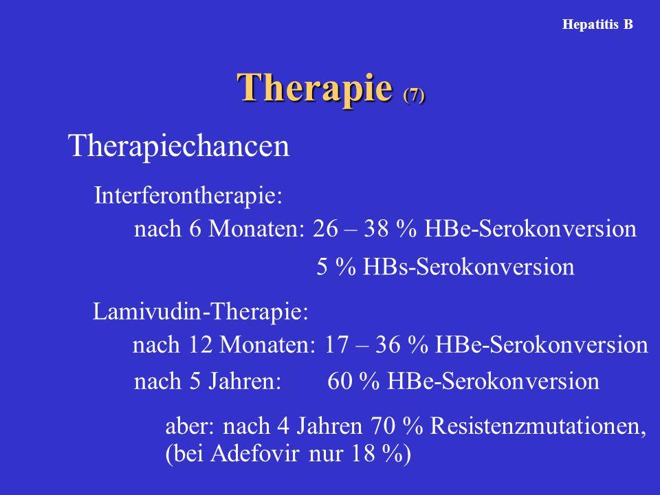 Therapie (7) Hepatitis B Therapiechancen Interferontherapie: nach 6 Monaten: 26 – 38 % HBe-Serokonversion 5 % HBs-Serokonversion Lamivudin-Therapie: nach 12 Monaten: 17 – 36 % HBe-Serokonversion nach 5 Jahren: 60 % HBe-Serokonversion aber: nach 4 Jahren 70 % Resistenzmutationen, (bei Adefovir nur 18 %)