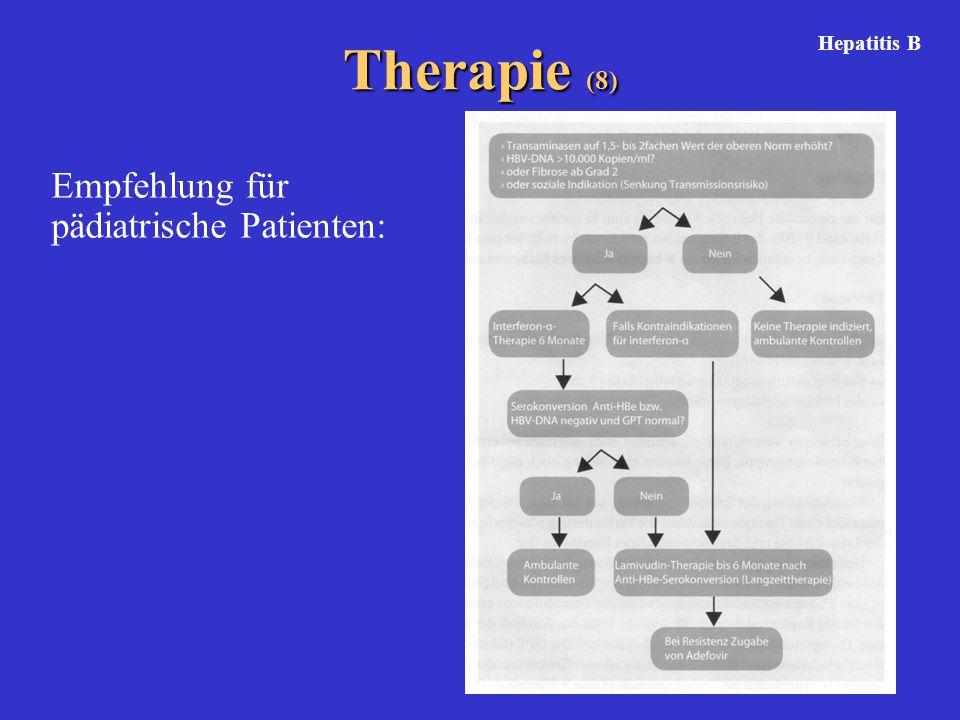 Therapie (8) Empfehlung für pädiatrische Patienten: Hepatitis B