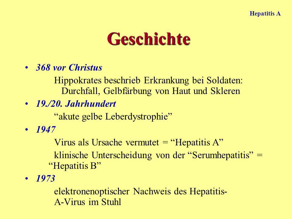 Hepatitis A Prophylaxe Passivimmunisierung: Immunglobuline zur Prä- und Postexpositionsprophylaxe Aktivimmunisierung: formalininaktiviertes Virusantigen, vor Reisen in Endemiegebiete