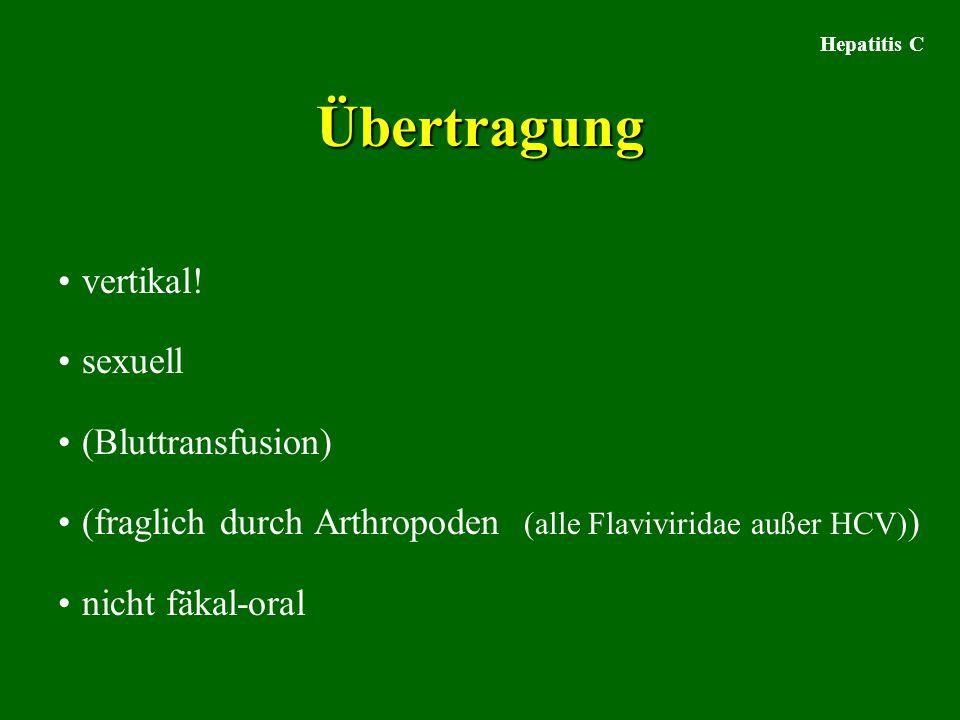 Übertragung vertikal! sexuell (Bluttransfusion) (fraglich durch Arthropoden (alle Flaviviridae außer HCV) ) nicht fäkal-oral