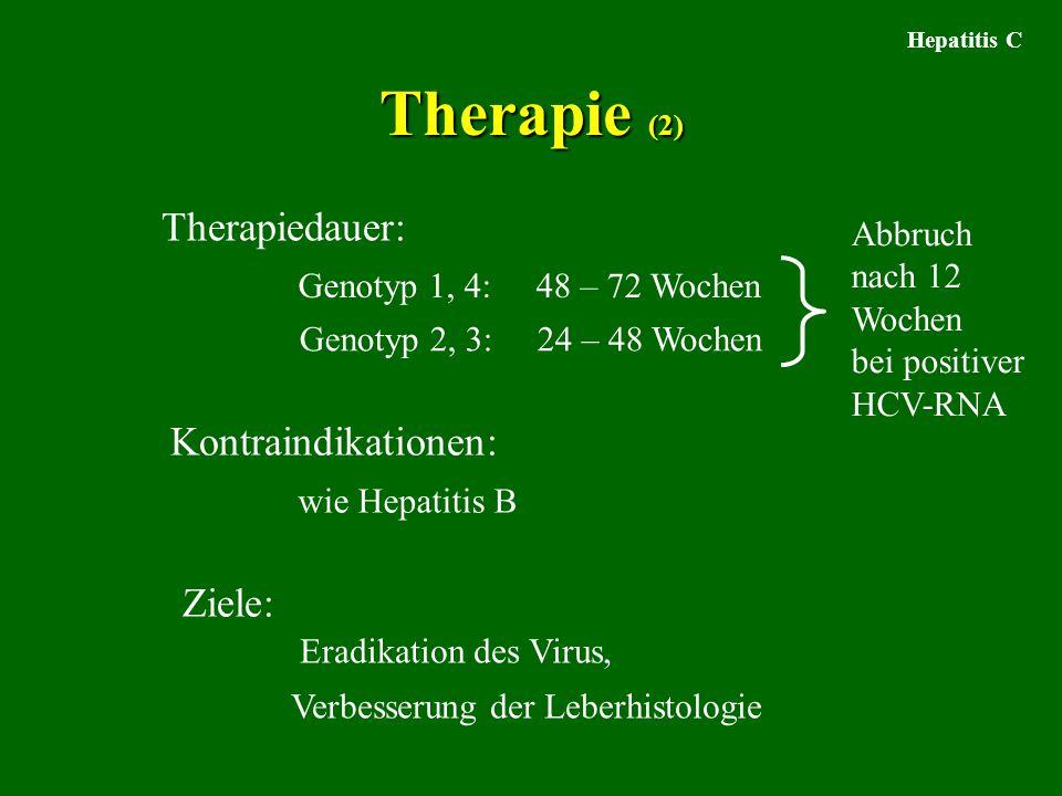 Hepatitis C Therapie (2) Kontraindikationen: Therapiedauer: Genotyp 1, 4: 48 – 72 Wochen Genotyp 2, 3: 24 – 48 Wochen Ziele: wie Hepatitis B Eradikation des Virus, Verbesserung der Leberhistologie Abbruch nach 12 Wochen bei positiver HCV-RNA