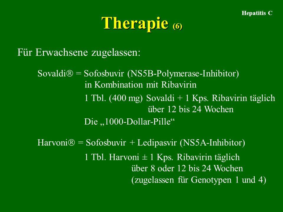 Hepatitis C Therapie (6) Für Erwachsene zugelassen: Sovaldi  = Sofosbuvir (NS5B-Polymerase-Inhibitor) in Kombination mit Ribavirin 1 Tbl. (400 mg) So