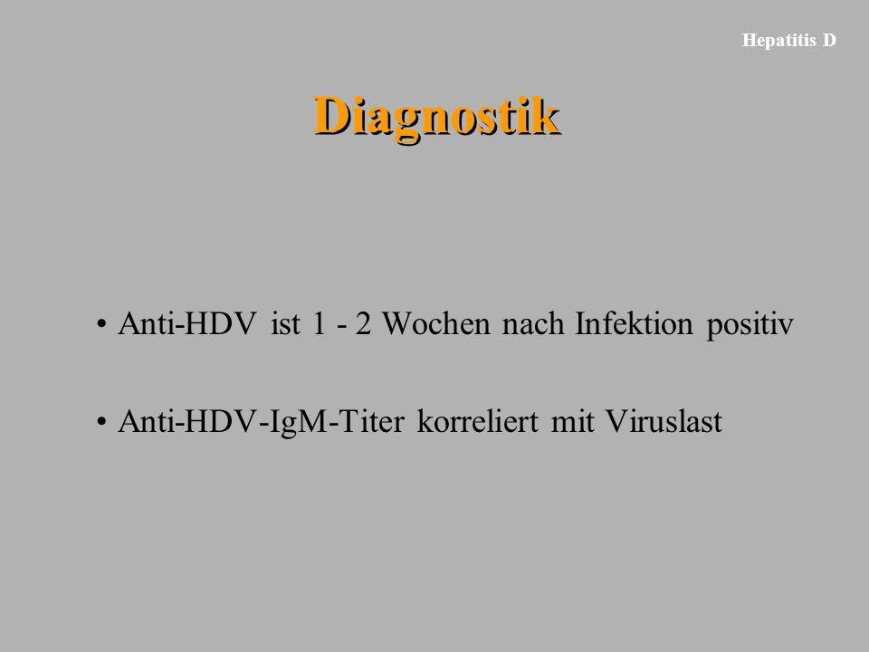 Hepatitis D Diagnostik Anti-HDV ist 1 - 2 Wochen nach Infektion positiv Anti-HDV-IgM-Titer korreliert mit Viruslast