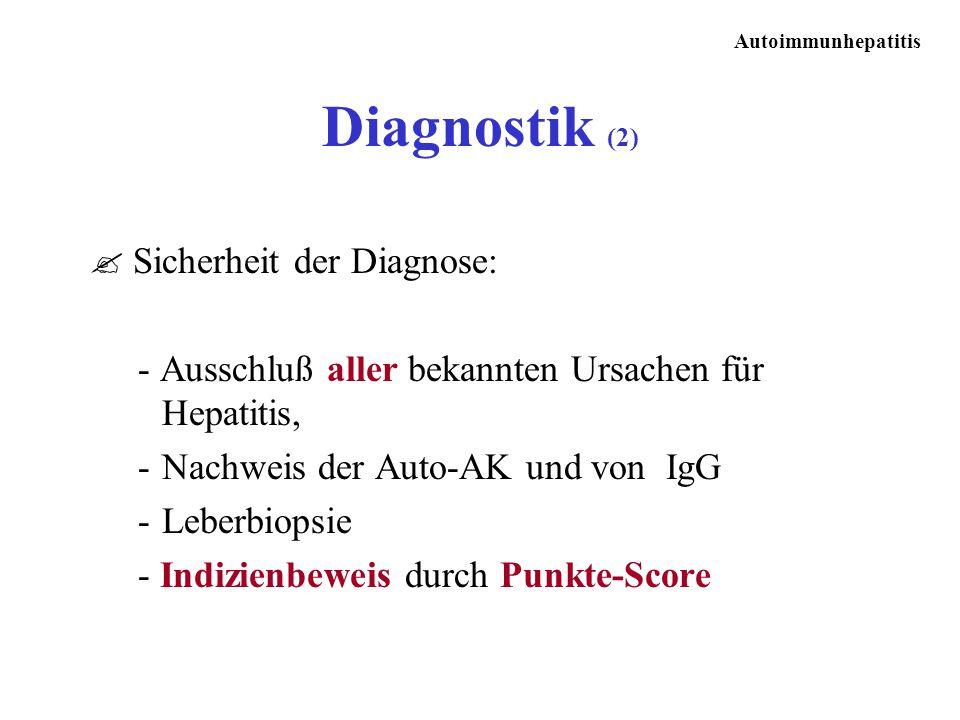 Autoimmunhepatitis ? Sicherheit der Diagnose: - Ausschluß aller bekannten Ursachen für Hepatitis, -Nachweis der Auto-AK und von IgG -Leberbiopsie - In
