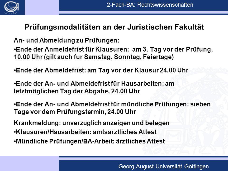 2-Fach-BA: Rechtswissenschaften Georg-August-Universität Göttingen Prüfungsmodalitäten an der Juristischen Fakultät An- und Abmeldung zu Prüfungen: En