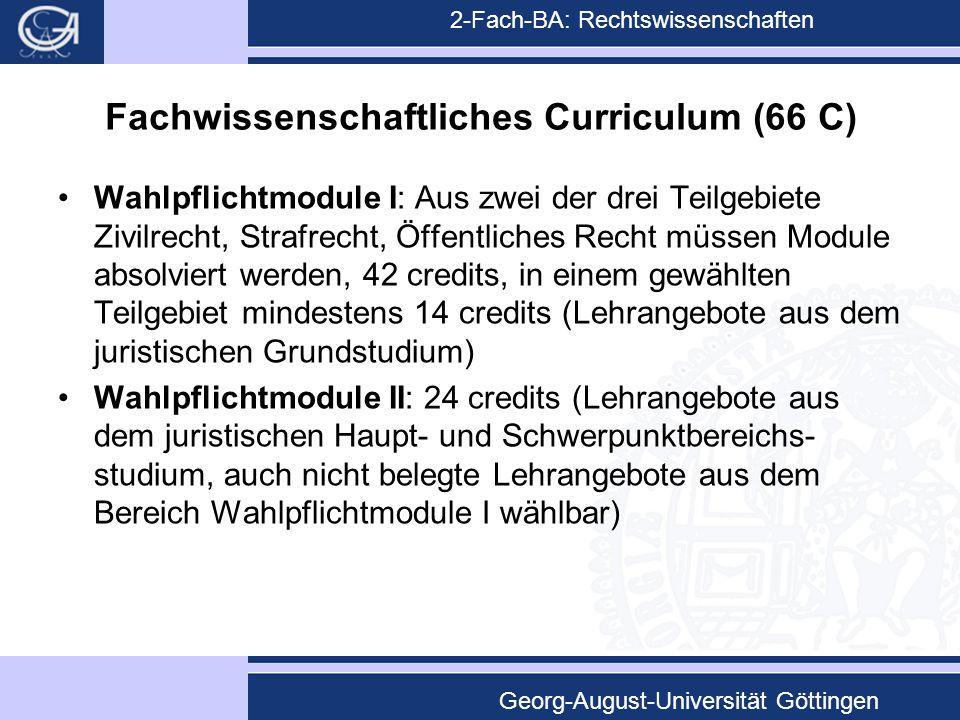 2-Fach-BA: Rechtswissenschaften Georg-August-Universität Göttingen Fachwissenschaftliches Curriculum (66 C) Wahlpflichtmodule I: Aus zwei der drei Tei