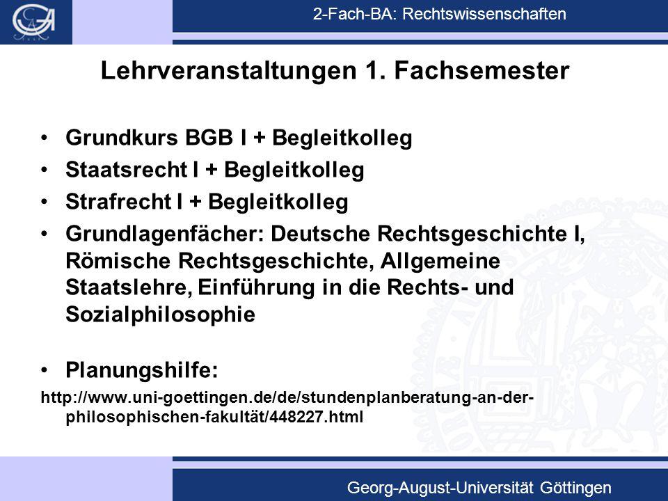 2-Fach-BA: Rechtswissenschaften Georg-August-Universität Göttingen Lehrveranstaltungen 1. Fachsemester Grundkurs BGB I + Begleitkolleg Staatsrecht I +
