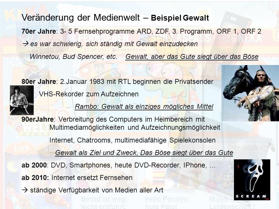 Veränderung der Medienwelt – Beispiel Gewalt 70er Jahre: 3- 5 Fernsehprogramme ARD, ZDF, 3.