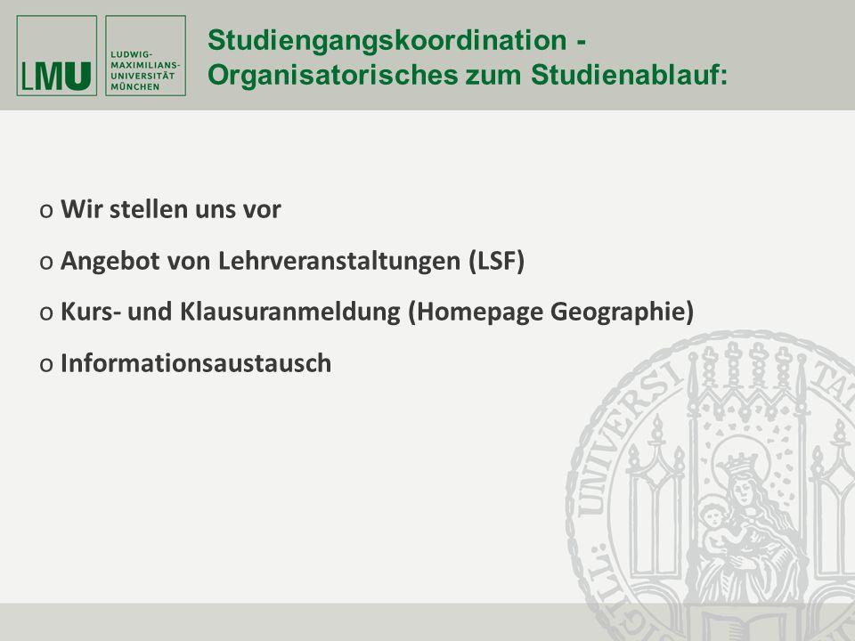 Fakultät für Geowissenschaften Seite 28 Studiengangskoordination - Organisatorisches zum Studienablauf: o Wir stellen uns vor o Angebot von Lehrverans