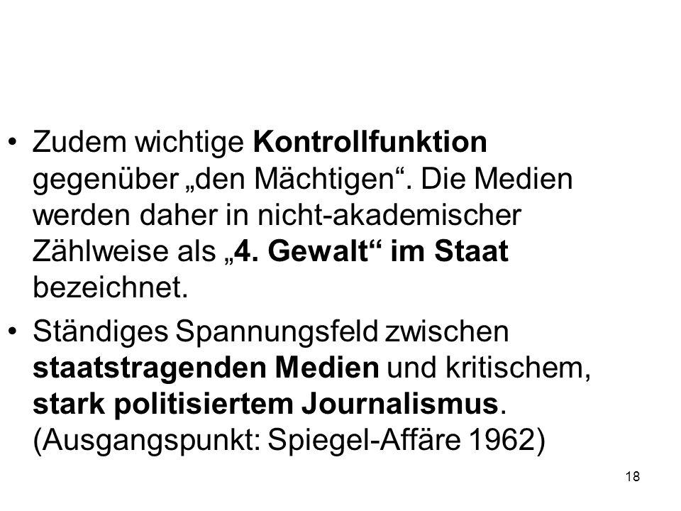"""18 Zudem wichtige Kontrollfunktion gegenüber """"den Mächtigen"""". Die Medien werden daher in nicht-akademischer Zählweise als """"4. Gewalt"""" im Staat bezeich"""