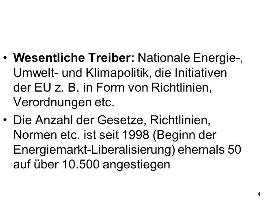 4 Wesentliche Treiber: Nationale Energie-, Umwelt- und Klimapolitik, die Initiativen der EU z. B. in Form von Richtlinien, Verordnungen etc. Die Anzah