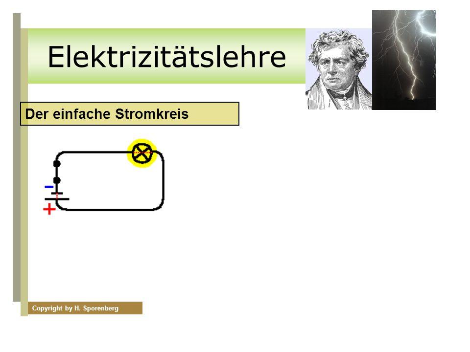 Elektrizitätslehre Der einfache Stromkreis Copyright by H. Sporenberg