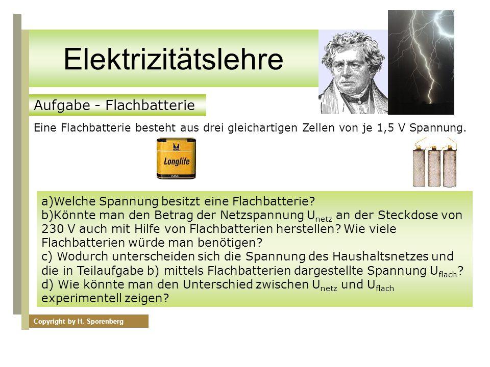 Internationaler Farbcode für Vierfachberingung Aufgabe - Flachbatterie Eine Flachbatterie besteht aus drei gleichartigen Zellen von je 1,5 V Spannung.