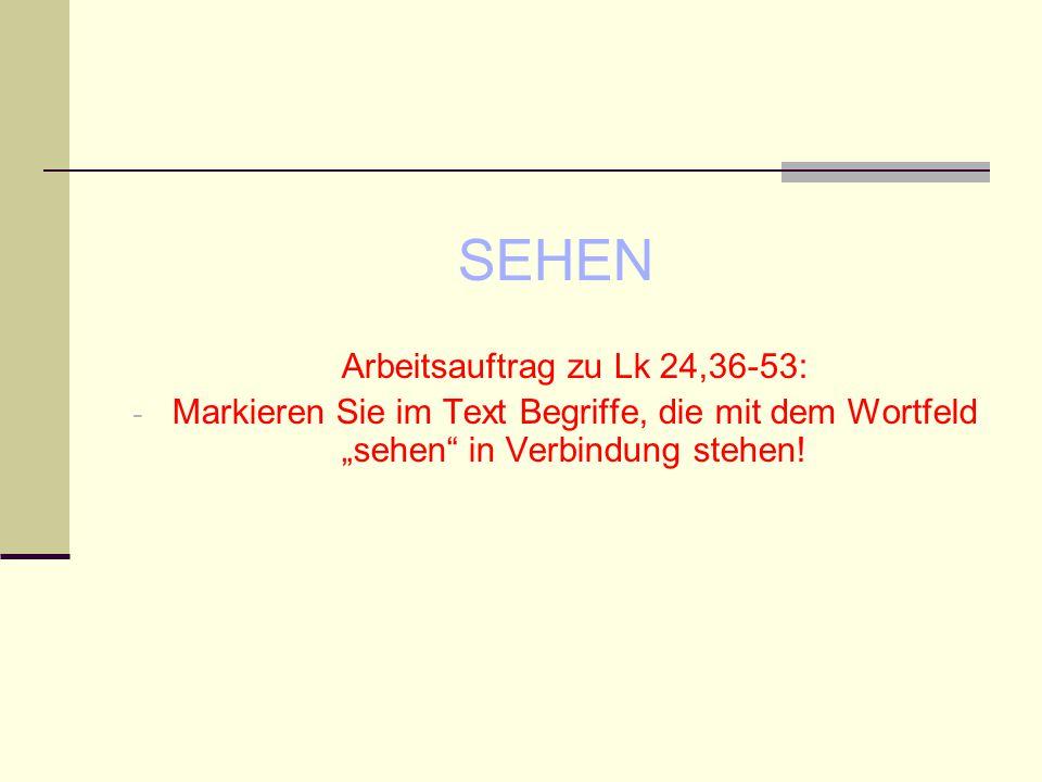 """SEHEN Arbeitsauftrag zu Lk 24,36-53: - Markieren Sie im Text Begriffe, die mit dem Wortfeld """"sehen"""" in Verbindung stehen!"""