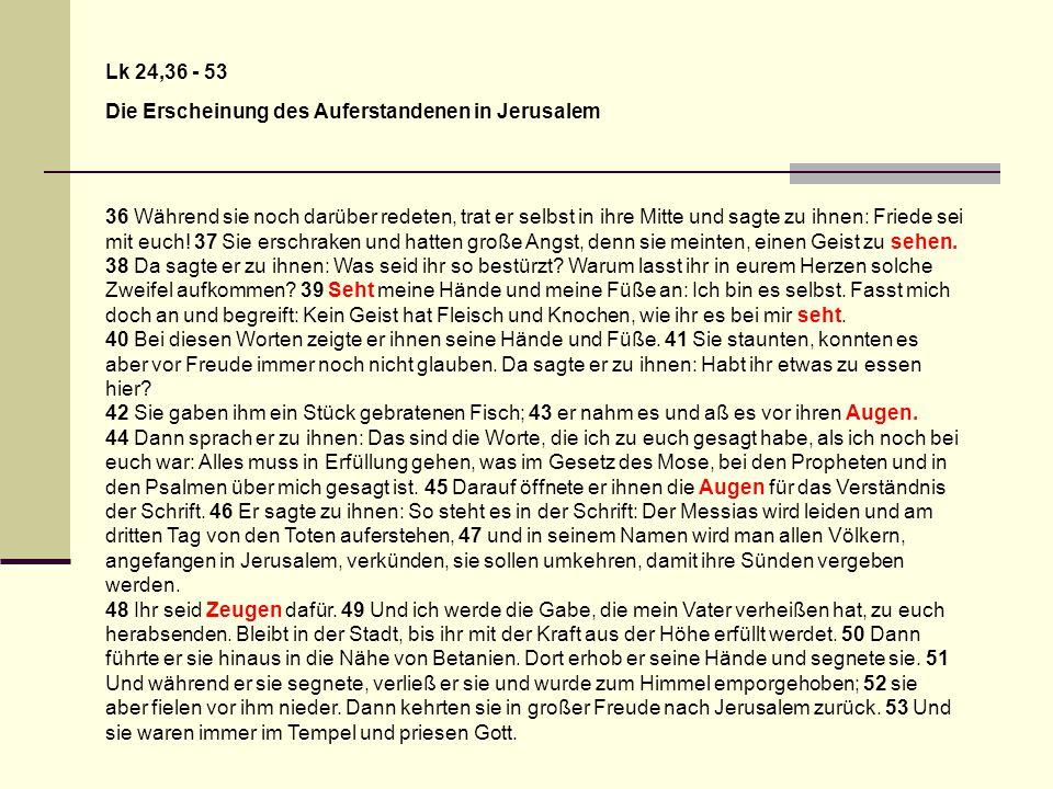Lk 24,36 - 53 Die Erscheinung des Auferstandenen in Jerusalem 36 Während sie noch darüber redeten, trat er selbst in ihre Mitte und sagte zu ihnen: Fr