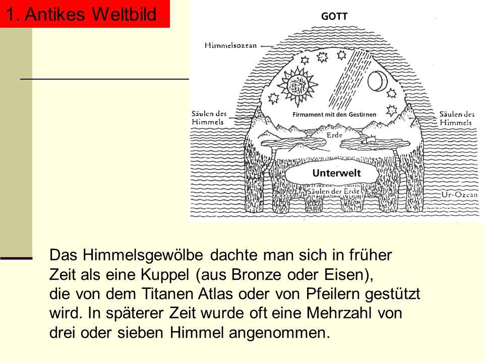1. Antikes Weltbild Das Himmelsgewölbe dachte man sich in früher Zeit als eine Kuppel (aus Bronze oder Eisen), die von dem Titanen Atlas oder von Pfei