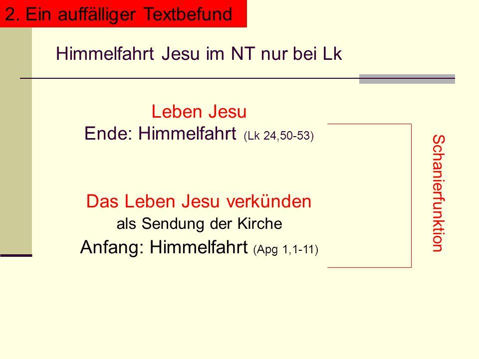 Himmelfahrt Jesu im NT nur bei Lk Leben Jesu Ende: Himmelfahrt (Lk 24,50-53) Das Leben Jesu verkünden als Sendung der Kirche Anfang: Himmelfahrt (Apg