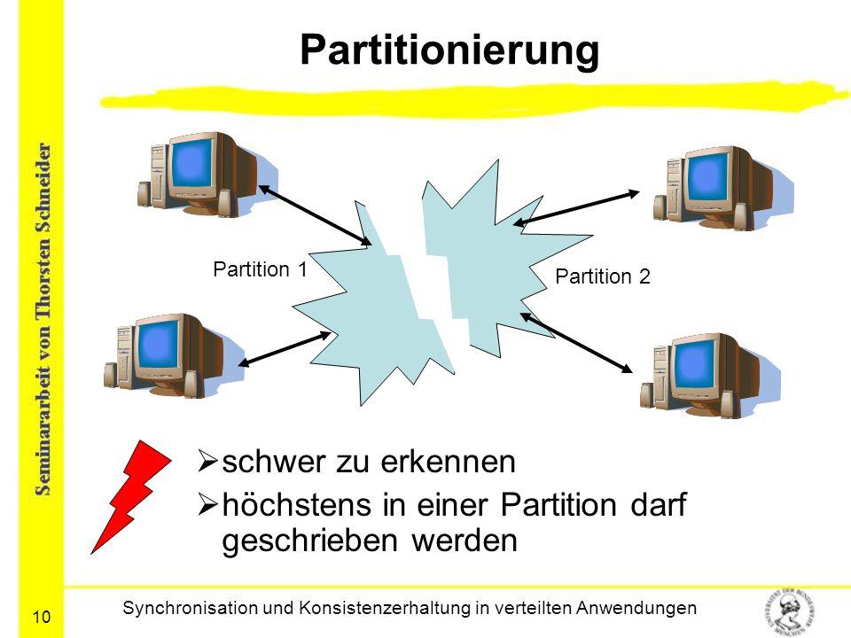 10 Partitionierung  schwer zu erkennen  höchstens in einer Partition darf geschrieben werden Synchronisation und Konsistenzerhaltung in verteilten A