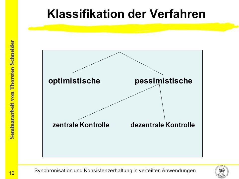 12 Klassifikation der Verfahren Synchronisation und Konsistenzerhaltung in verteilten Anwendungen optimistischepessimistische zentrale Kontrolledezent