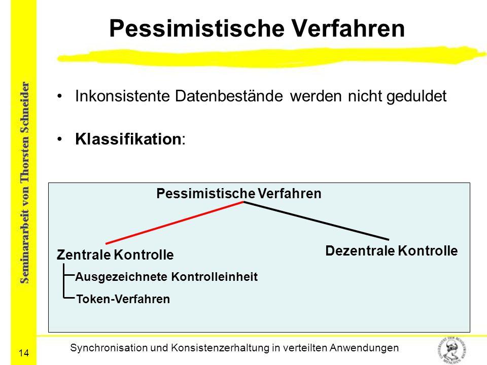 14 Pessimistische Verfahren Inkonsistente Datenbestände werden nicht geduldet Klassifikation: Synchronisation und Konsistenzerhaltung in verteilten An